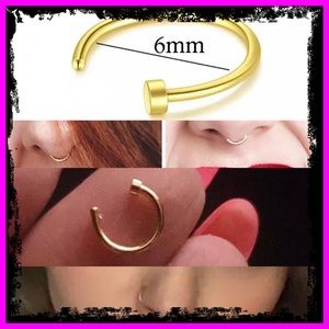 🆕 6mm 9k Gold Body Jewelry Fake Nose Ring